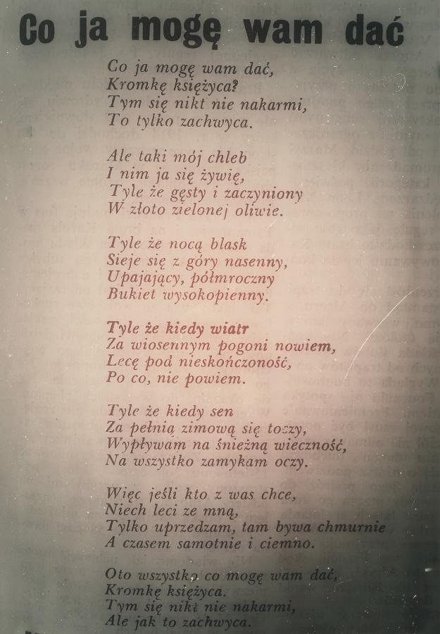 """Wiersz Kazimierza Wierzyńskiego """"Co ja mogę wam dać"""""""